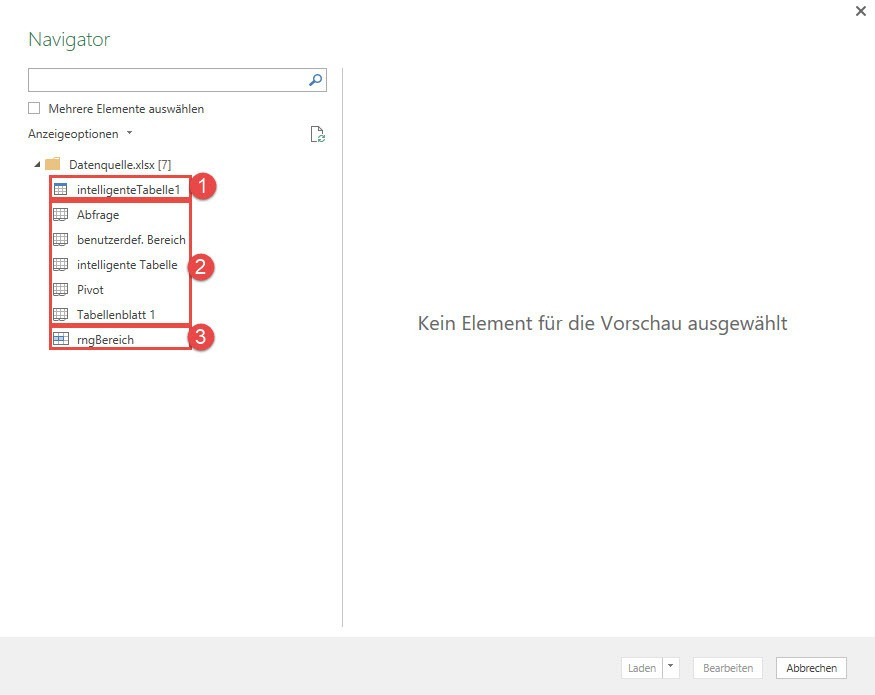 Power Query-Datenimport: Der Navigator