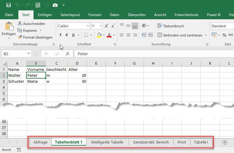 Das sind Tabellenblätter in Excel