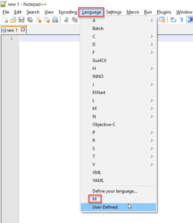Selecting the M language in Notepad++