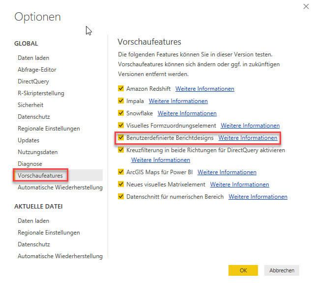 Power BI Desktop Bericht im Standard Berichtsdesign