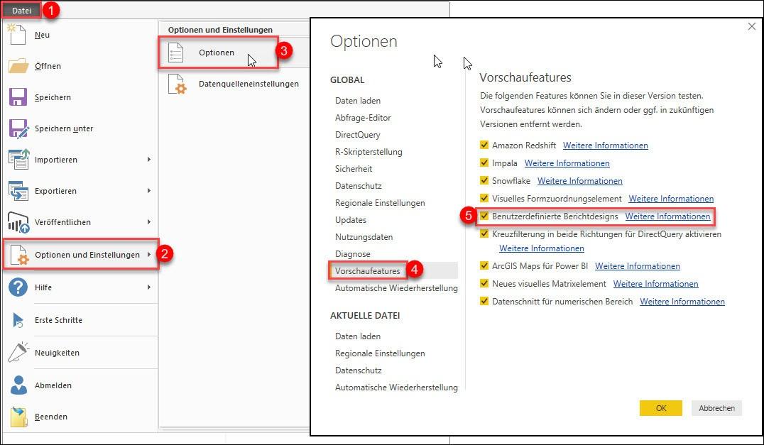 Den Vorschau-Features (Preview-Features) aktivieren, um benutzerdefinierte Berichtsdesigns erstellen zu können