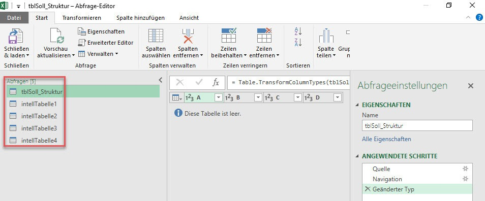 Die importierten Tabellen als separate Abfragen in Power Query