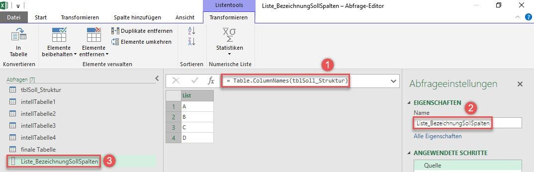 Spaltenbezeichnungen in eine Liste einlesen: Table.ColumnNames()