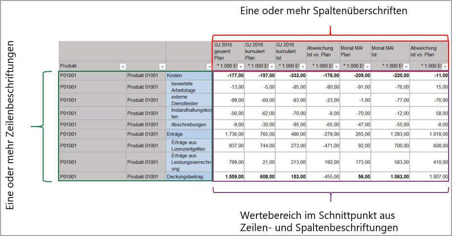 Aufbau von SAP-Berichten in Kreuztabellenstruktur