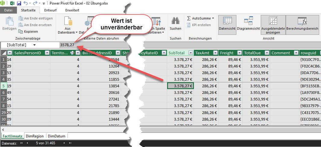 Daten sind in Power Pivot/ Power BI unveränderbar gespeichert