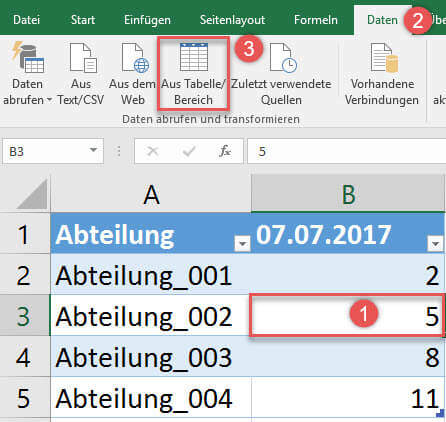 Import der intelligenten Tabelle in Power Query