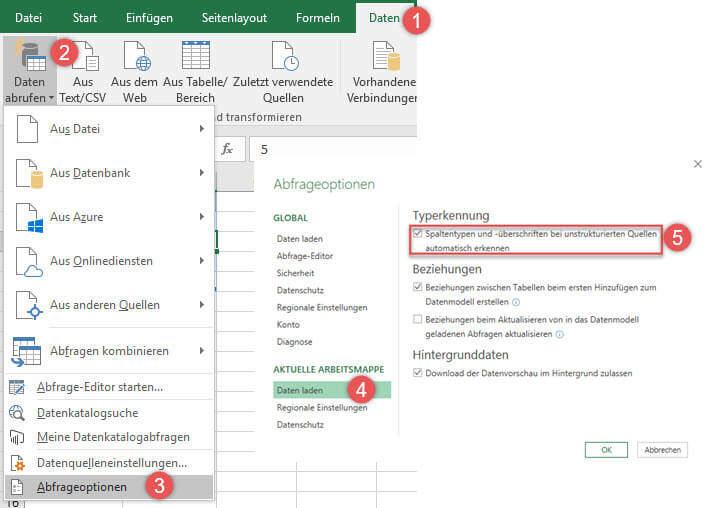 Automatische Typenerkennung in Power Query für Excel 2016 ausschalten