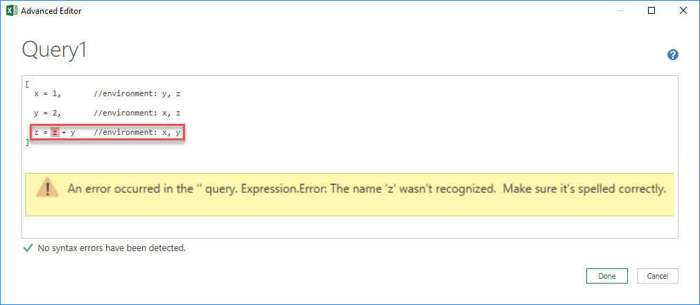 A variable is not part of its own environment, Power Query, Power BI Desktop