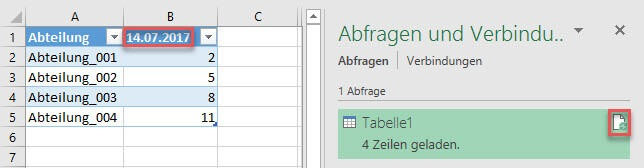 Power Query Query-Refresh mit neuen Daten