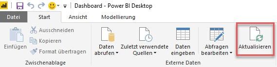 Wann wurde zuletzt auf Aktualisieren gedrückt? Power BI Desktop, Power Pivot
