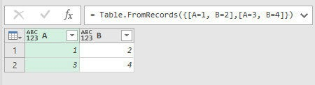 Using Table.FromRecord() to define a simple table, Power Query, Power BI Desktop