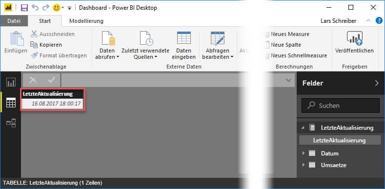 Den gespeicherten Aktualisierungszeitpunkt im Datenmodell betrachten, Power BI Desktop