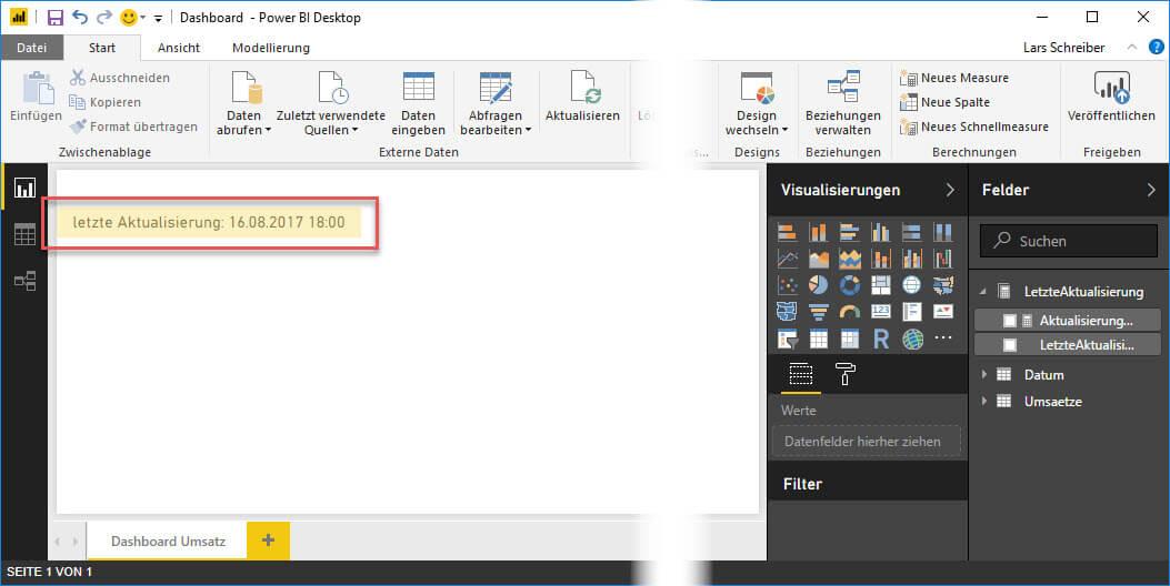 Der über M ermittelte Aktualisierungszeitpunkt im Dashboard, Power Query, Power BI Desktop