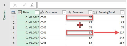 The idea of a running total calculation, Power Query, Power BI Desktop
