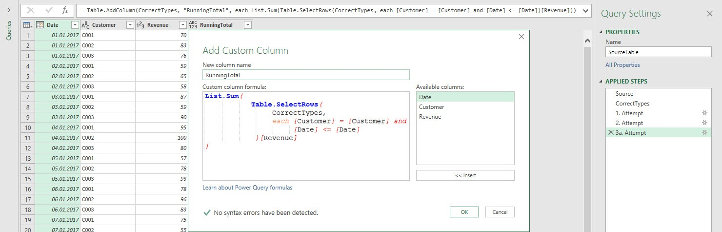 3a Attempt: Trying to calculate a sum over a subset of rows, Power Query, Power BI Desktop