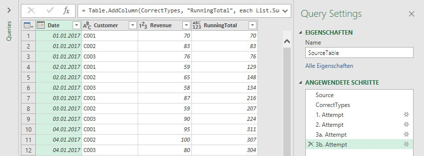 3b result: Correct calculation of a running total, Power Query, Power BI Desktop