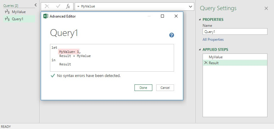 Query1 contains a variable (step), which is also named MyValue, Power BI Desktop, Power Query