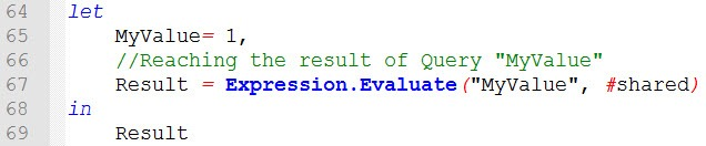 Using Expression.Evaluate() and #shared to controll the usage of Query results or stap names, Power BI Desktop, Power Query
