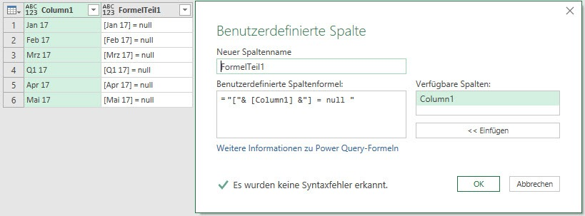 Die Erzeugung des ersten Formelbestandteils, Power Query, Power BI Desktop