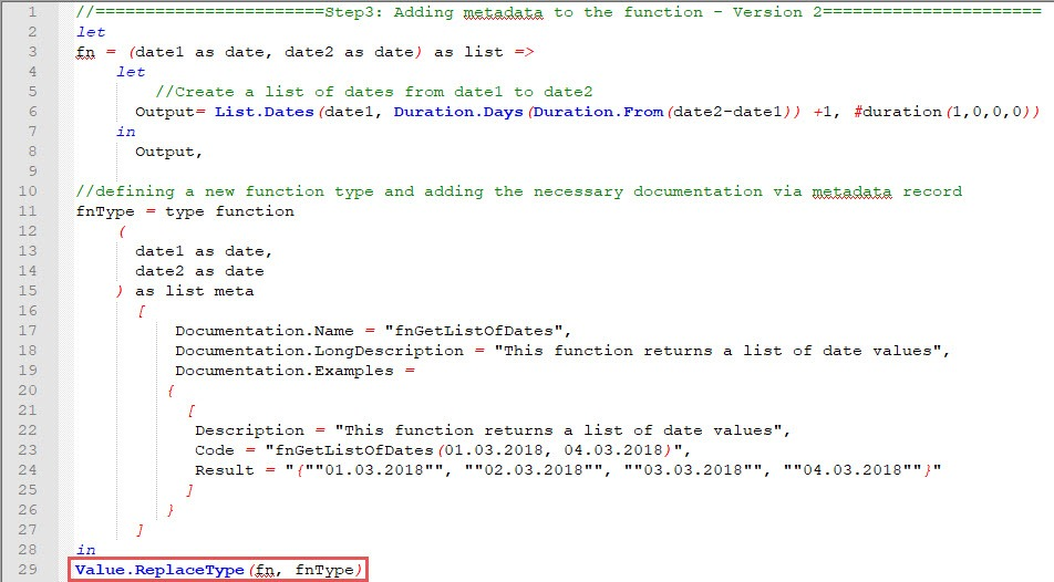 Replacing the custom functions old type by the new one, including metadata, Power Query, Power BI Desktop