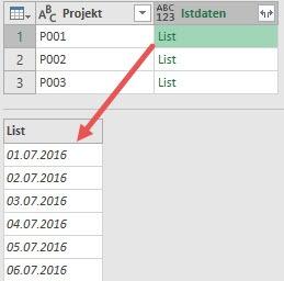 Das Ziel: Alle eingetragenen Datumswerte je Projekt in einer Liste speichern, Power Query, Power BI Desktop