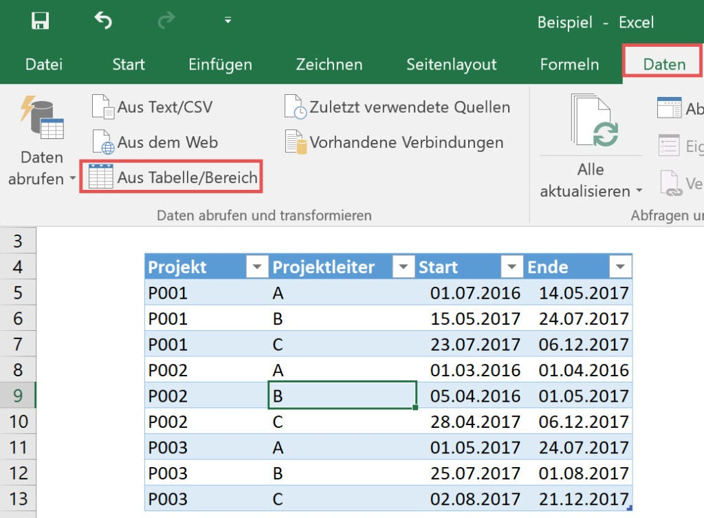 Die intelligente Tabelle aus Excel in Power Query laden, Power Query, Power BI Desktop