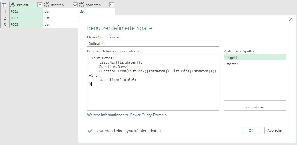 Die Ermittlung der Sollperioden, Power Query, Power BI Desktop