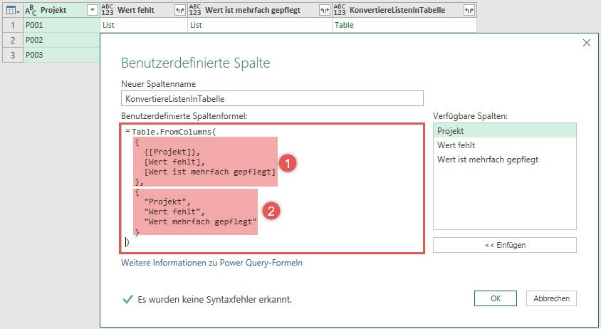 Listen in Datensätze konvertieren, mit Table.FromColumns(), Power Query, Power BI Desktop