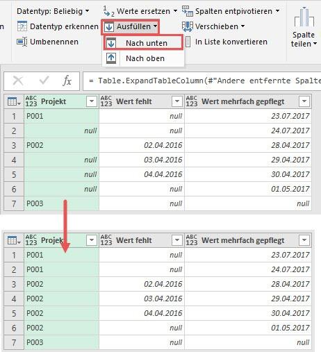 Nach unten ausfüllen: NULL-Werte durch Projektbezeichnungen ersetzen, Power Query, Power BI Desktop