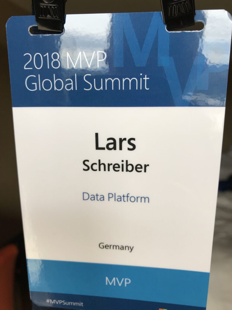 Mein Badge, Power BI, MVP Global Summit