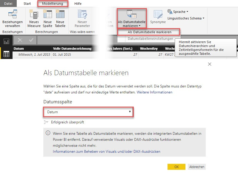 """Als Datumstabelle markieren"" in Power BI Desktop, Power BI, Excel-Datenmodell, Power Pivot"