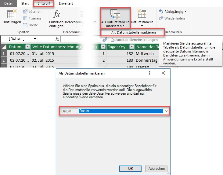"""Als Datumstabelle markieren"" in Power Pivot, Power BI, Excel-Datenmodell, Power Pivot"