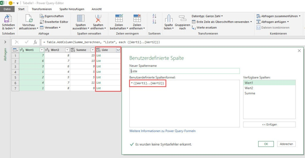 List: Zeilenweise Kalkulation einer Liste, Power Query, Power BI Desktop