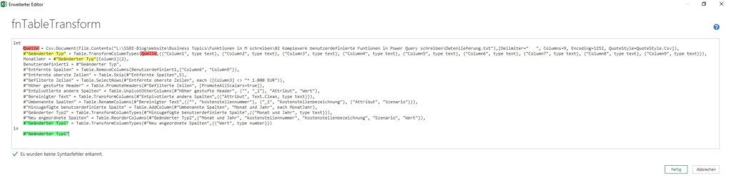 Der erste Blick auf den M-Code, Power Query, Power BI Desktop