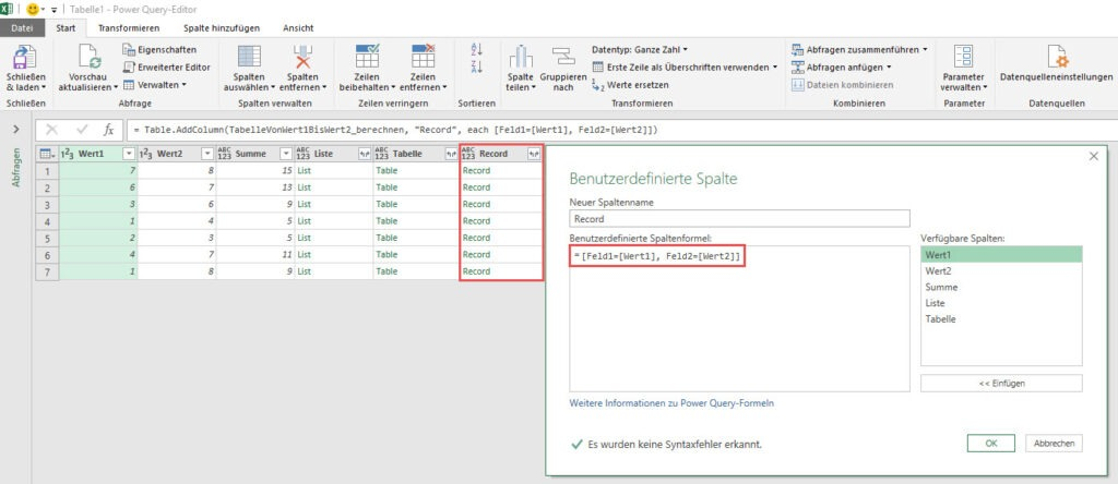Record: Zeilenweise Kalkulation eines Records, Power Query, Power BI Desktop