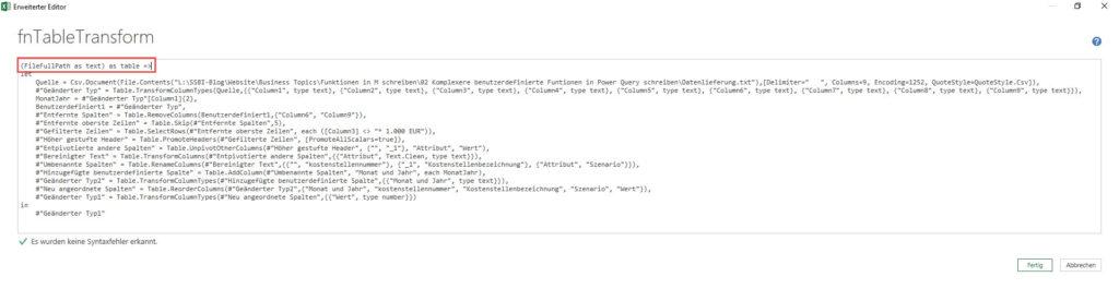 So wird der Code von einer Abfrage in eine Funktion konvertiert, Power BI Desktop, Power Query