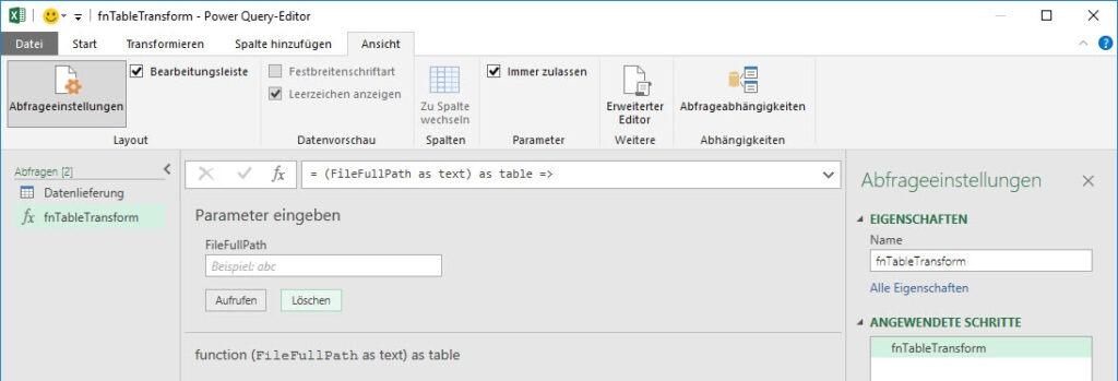 Die Nutzeroberfläche der erstellten, benutzerdefinierten Funktion, Power Query, Power BI Desktop