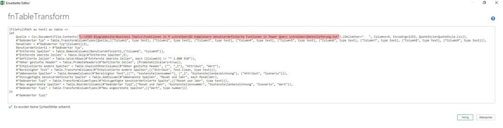 Der aufgenommene Parameter kommt noch nicht im Funktionskörper an, Power Query, Power BI Desktop