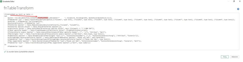 Der Parameter ist korrekt in den Funktionskörper eingebunden, Power Query, Power BI Desktop