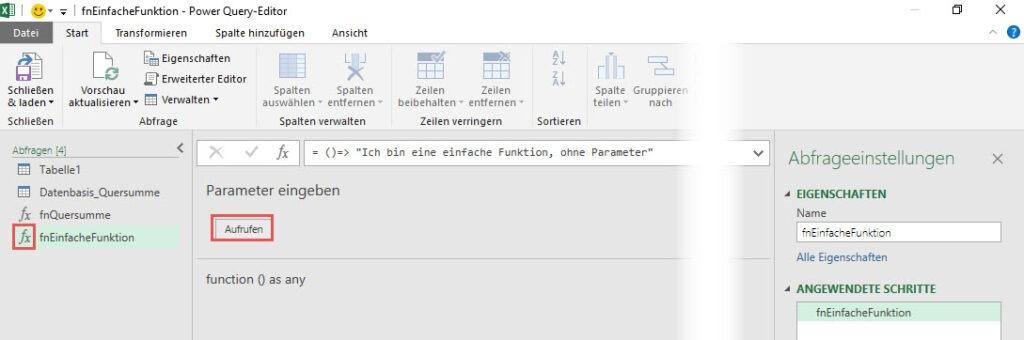 Die fertige benutzerdefinierte Funktion aufrufen, Power Query, Power BI Desktop