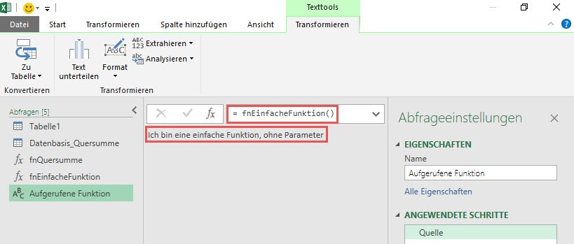 Das Ergebnis des Funktionsaufrufes, Power Query, Power BI Desktop