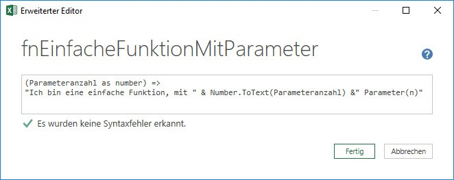 Die benutzerdefinierte Funktion mit Funktionsparameter, Power Query, Power BI Desktop