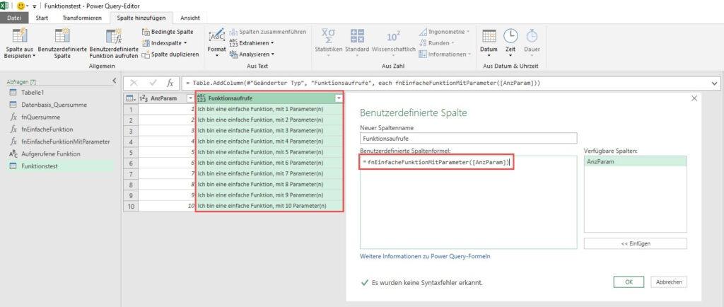 Aufruf der benutzerdefinierten Funktion in einer berechneten Spalte, Power Query, Power BI Desktop