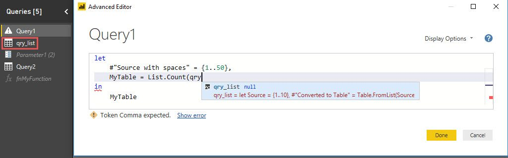 Intellisense: Reference other queries, Power Query, Power BI Desktop