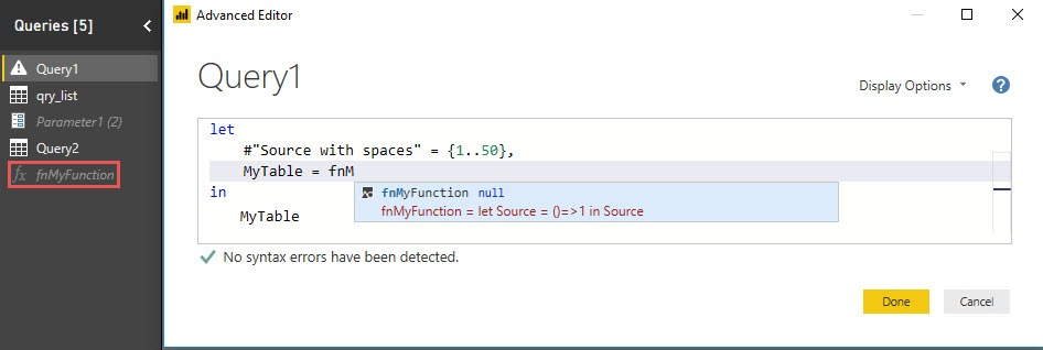 Intellisense: Reference custom functions, Power Query, Power BI Desktop