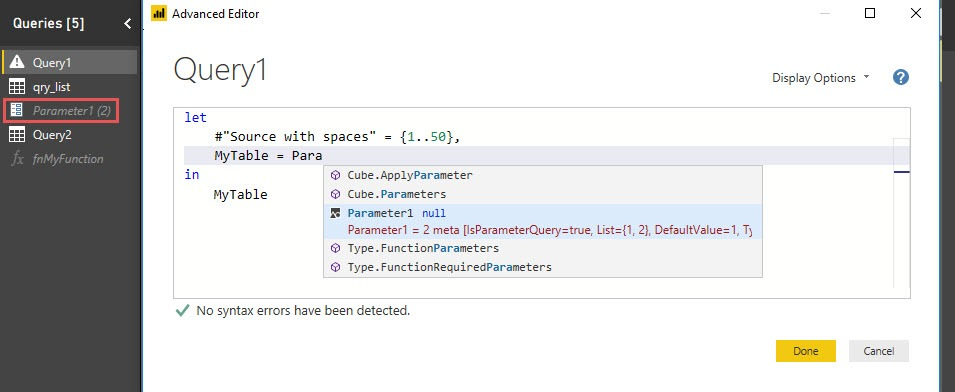 Intellisense: Reference parameters, Power Query, Power BI Desktop