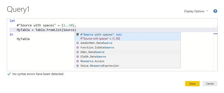 Intellisense: Reference variables from the current query, Power Query, Power BI Desktop