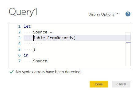 Intending lines, after a equal sign, Power Query, Power BI Desktop