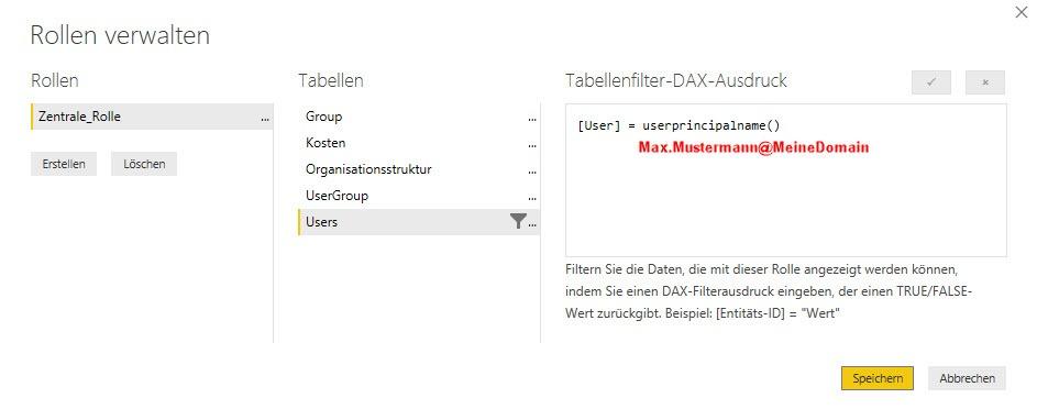 Der Tabellenfilter erkennt die Anmeldung von Max Mustermann mit seinem UPN, Power BI, Row Level Security