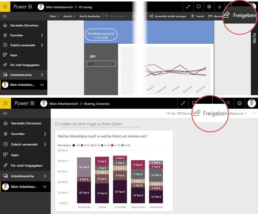 Spontanes Freigeben von Reports und Dashboard, Power BI Service